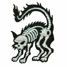 Cat Skeleton X-Ray Shock Electric Kreepsville Embroidered Iron On Applique Patch
