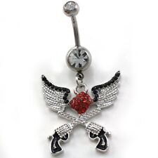 Angel Wings Red Heart Cowgirl Revolver Pistol Gun Dangle Belly Button Ring Navel