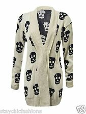 New Ladies Womens Skull Printed Halloween Special Long Sleeve Knitted Cardigans