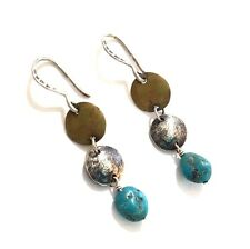 Rare!! Silpada Sterling Silver, Brass and Turquoise Earrings - W1817 - RETIRED