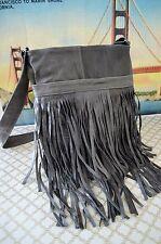 """Genuine Leather Fringe in """"SLATE GREY"""" Messenger  Bag Cross Body Shoulder Purse"""