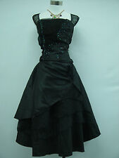Cherlone Plus Size Black Prom Ball Evening Formal Bridesmaid Wedding Dress 18-20