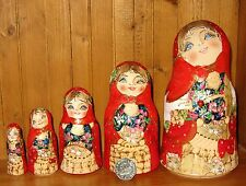 Russian stacking doll HAND PAINTED Pyrography 5 BELL MATRYOSHKA & Cat Mamayeva