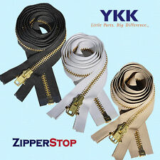 "YKK 36"" #10 Brass Separating Zipper ~ ZipperStop - White"