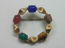 Vintage Scarab Wreath Brooch Signed Wre 1/20 12Kt Gf Gold Filled W E Richards