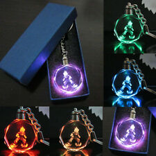 Charm Dragonball Z Son Saiyajin Goku Crystal LED light Glass Pendant Key Chain