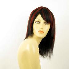 perruque femme 100% cheveux naturel long méchée noir/rouge IRINA 1b410