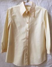 PRADA Yellow Cotton 3/4 Sleeve Button Front Top Blouse~42~Italy