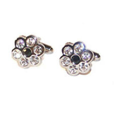 Clear Crystal Flower Shaped Cufflinks With Gift Pouch Silver Florist Floral New