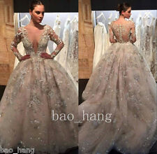Sparkle Appliques Wedding Bridal Ball Gown Long Sleeve Luxury Dress Puffy Skirt