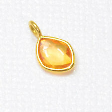 18k Solid Yellow Gold Natural Yellow Sapphire Bezel Charm Pendant