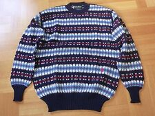 New Vtg CONTE OF FLORENCE Navy Jacquard Wool Sweater Jumper Ski X-mas 52/L ITALY