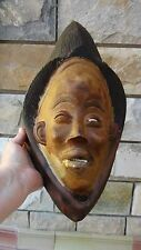 ANTIQUE AFRICAN WOOD HAND CARVED TRIBAL RITUAL MASK FROM GHANA