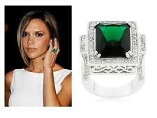 8 TCW Cushion Cut CZ Antique Style Filigree Emerald Green Cocktail Ring Size 5