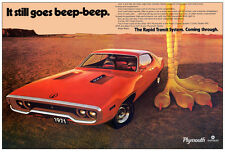 24x36 1971 Plymouth Road Runner Ad Poster Art BIG Mopar Rapid Transit System 383