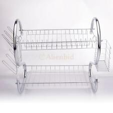 2 Tiers Kitchen Dish Cup Drying Rack Holder Sink Drainer Stainless Steel
