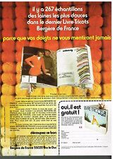 Publicité Advertising 1974 Le catalogue laines Bergère de France