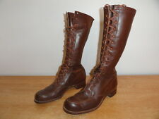 Vintage Circa 1930's Brown Leather Tall 17-Eyelet Field Lace-Up Boots Sz-7.5 USA