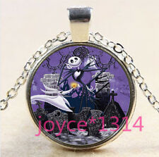 Nightmare Before Christmas Cabochon silver Glass Chain Pendant Necklace #3312