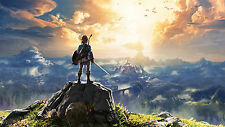 """Hot The Legend of Zelda Breath of the Wild New Link Game Art Silk 25""""x14"""" Poster"""