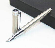 BAOER 3035 STAINLESS STEEL METAL SILVER MEDIUM NIB FOUNTAIN PEN