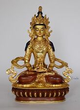 "8.75"" Aparmita Copper Gold Gilded Hand Carved Gold Face Painted  Statue Patan"