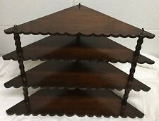 ANTIQUE WALNUT HANGING CORNER SCALLOPED EDGE CURIO GRADUATED 4 TIER SHELF