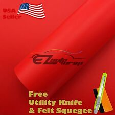 "*24"" x 60"" MATTE FLAT RED Vinyl Wrap Sticker Decal Film Sheet with Air Release"