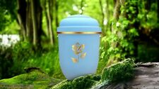 "Golden Rose & Lt Blue NatureURN (Adult Cremation Ashes Urn) ""Natural Beauty"""