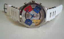 Silver Finish Red Band 5 Time Zone With Date Men's Fashion Rapper Style Watch
