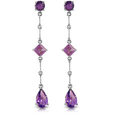 14K Solid White Gold Chandelier Earrings withDiamonds & Amethysts
