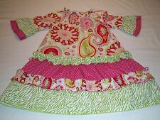 Lolly Wolly Doodle Boutique Girls Sz 3T  Dress Pink Paisley Print