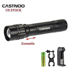5000 LM CREE T6 LED Zoomable Flashlight Torch Lamp+18650 Battery+Charger+Clip HS