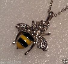 Stunning bumble bee pendant charm crystal and enamel necklace D17