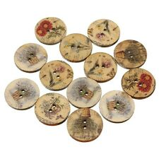 """Lot of 10 Assorted FLOWERS Wooden Button 3/4"""" (20mm) Scrapbook Crafts (4888)"""