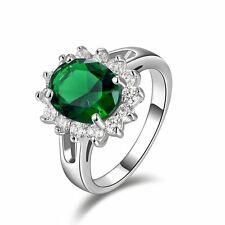 Women's Fashion Size 6 Delicate Solitaire Emerald 10KT Gold Filled Wedding Ring