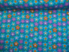 Turquoise BLUE Multi Colored Mod FLOWER 100% Cotton Flannel Per Yard