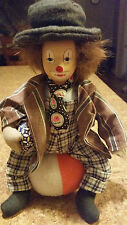 "10"" Tall Cute Clown sitting on large soft striped ball / Ceramic Face"