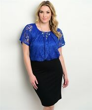 WOMENS PLUS SIZE ROYAL BLUE AND BLACK LACE OVERLAY DRESS XL 1XL NEW