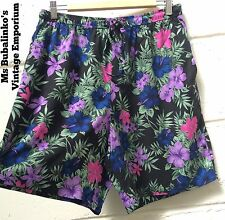Vintage 90s High Waist Culottes Shorts Black Tropical Flower Pattern Size 14 16