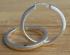 Solid 925 Sterling Silver Plain Huggie Hoop 36mm Diam.Square-Tube Earrings  Box