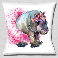 "CUTE YOUNG GIRL HIPPO WEARING PINK TUTU AND BOWS WHITE 16"" Pillow Cushion Cover"
