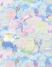 Kids Fabric - Fantasy Pastel Unicorn Scene Metallic - Timeless Treasures 24""