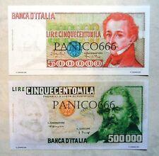 500000 LIRE GIACOMO LEOPARDI + 500000 LIRE GIOSUE' CARDUCCI (2 Pezzi)