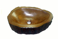 Concrete Log Vessel Sink bowl for Rustic Log Cabin Bathroom Decor  Made in USA