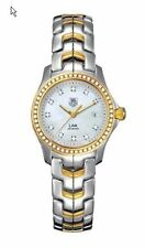 STUNNING TAG HEUER LINK WJF1354.BB0581 18K GOLD PEARL LADIES DIAMOND SWISS WATCH