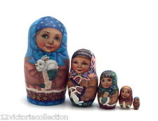 Unique Russian Girl with Baby Rabbit Nesting DOLL Hand Painted Babushka