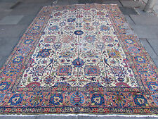 Old Shabby Chic Traditional Hand Made Persian Oriental Cream Wool Rug 349x247cm