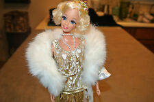 "Barbie doll,Flapper 1920""s,Cropped hair,figure dress,Fur collor coat Hose &beads"