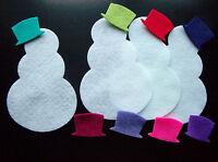 Die Cut Large Felt Snowman & Hat x4 christmas/topper/applique/kids/sizzix